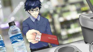 楽天edyのカードで買い物する男性