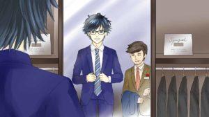 洋服の青山でスーツ選んでいる男性